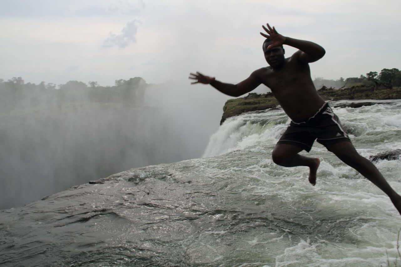 A man jumping in water