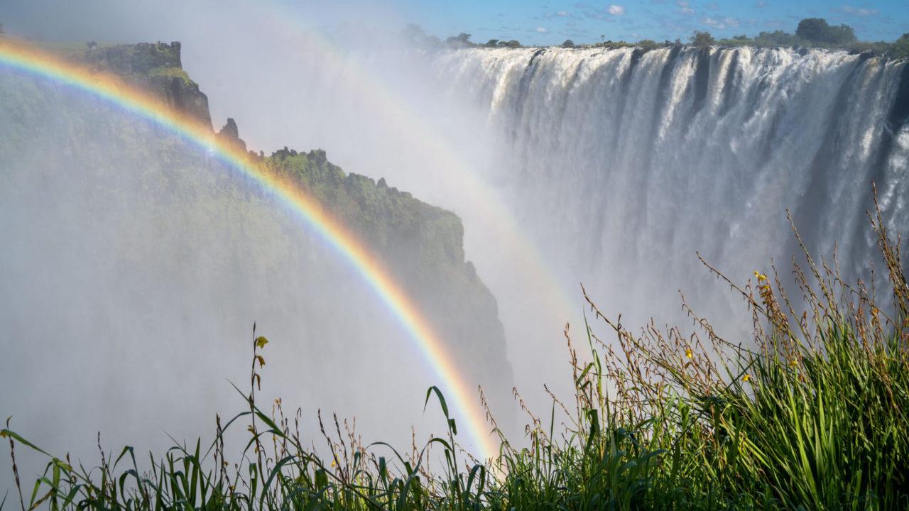 A rainbow over Victoria Falls