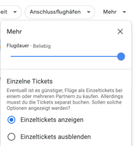 Google Flüge Screenshot
