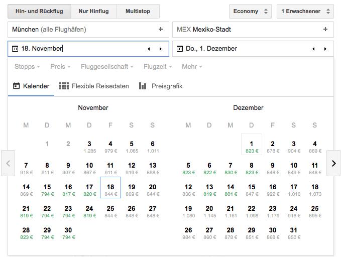 Screenshot Google Flüge Suche: niedrigster Preis Kalender