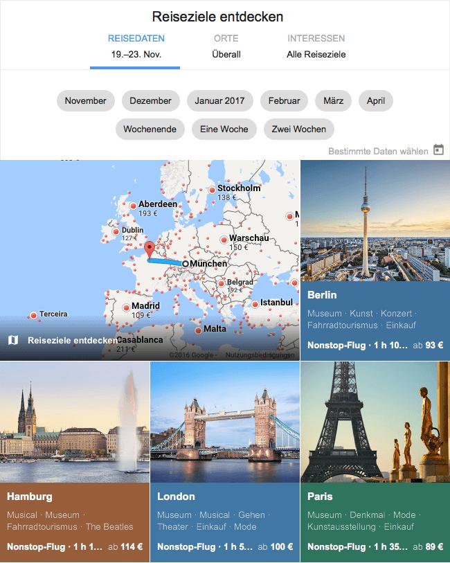 Screenshot: Google Flüge Suche - Reiseziele entdecken