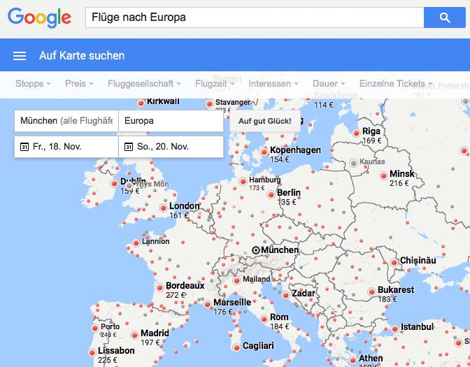 Screenshot der Google Flüge Suche