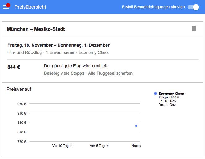 Screenshot: Google Flüge Suche: Preis beobachten