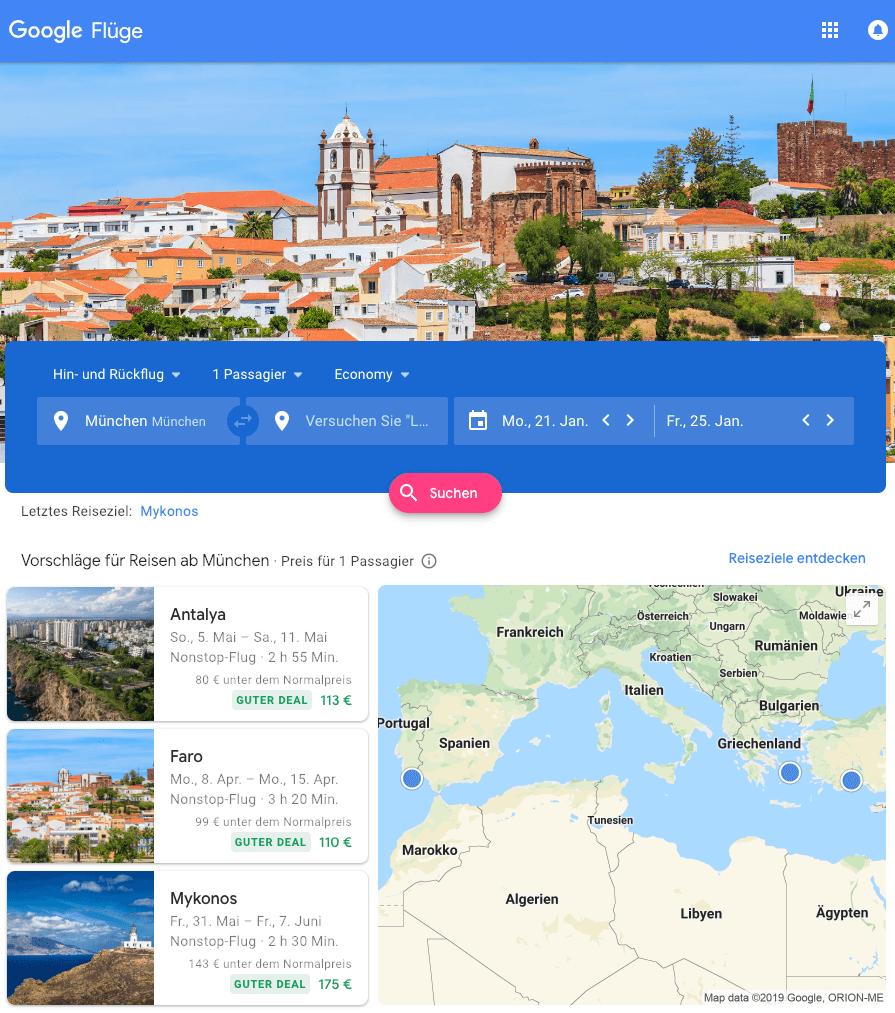 Screenshot der Google Fluege Website