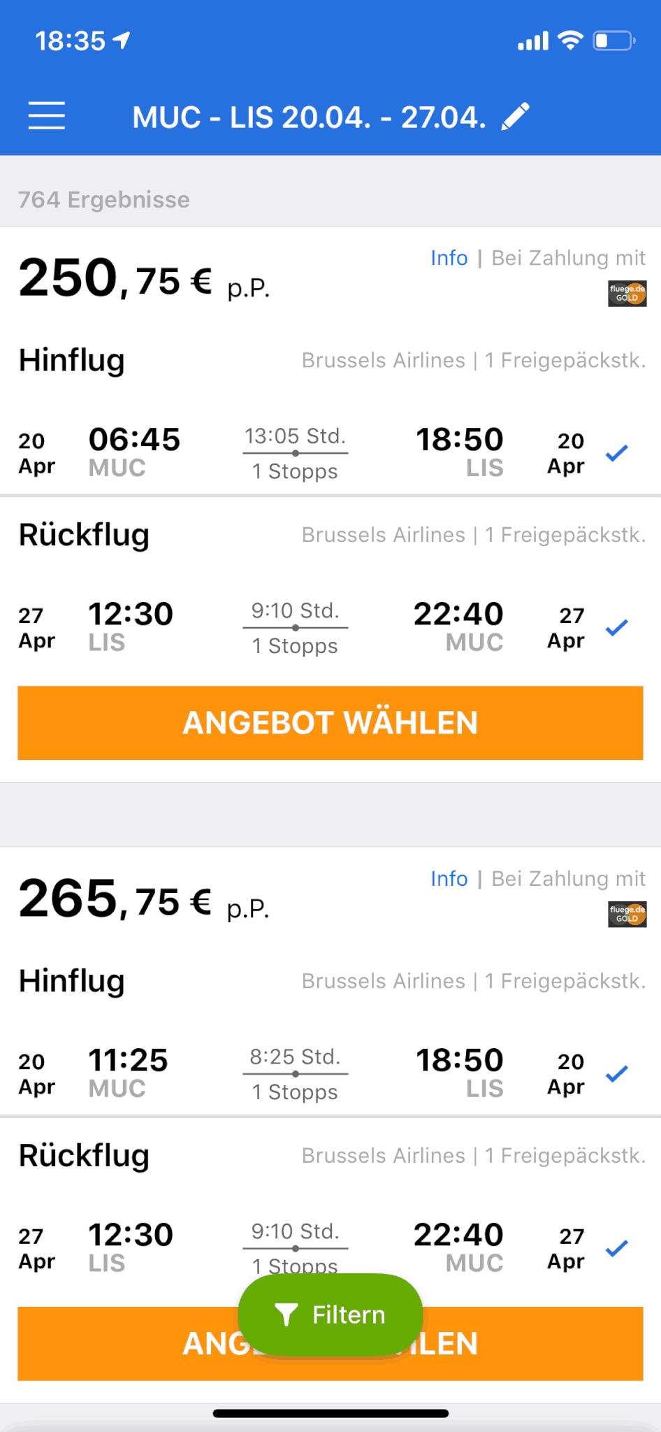 Screenshot der Fluege.de App