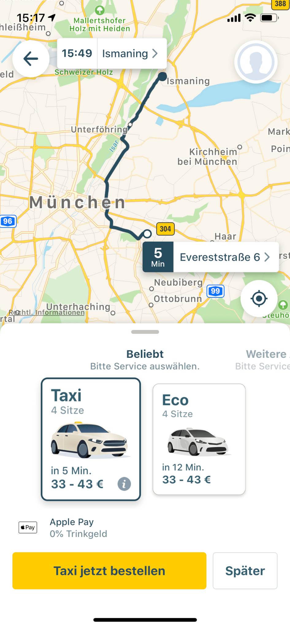 Screenshot der MyTaxi App