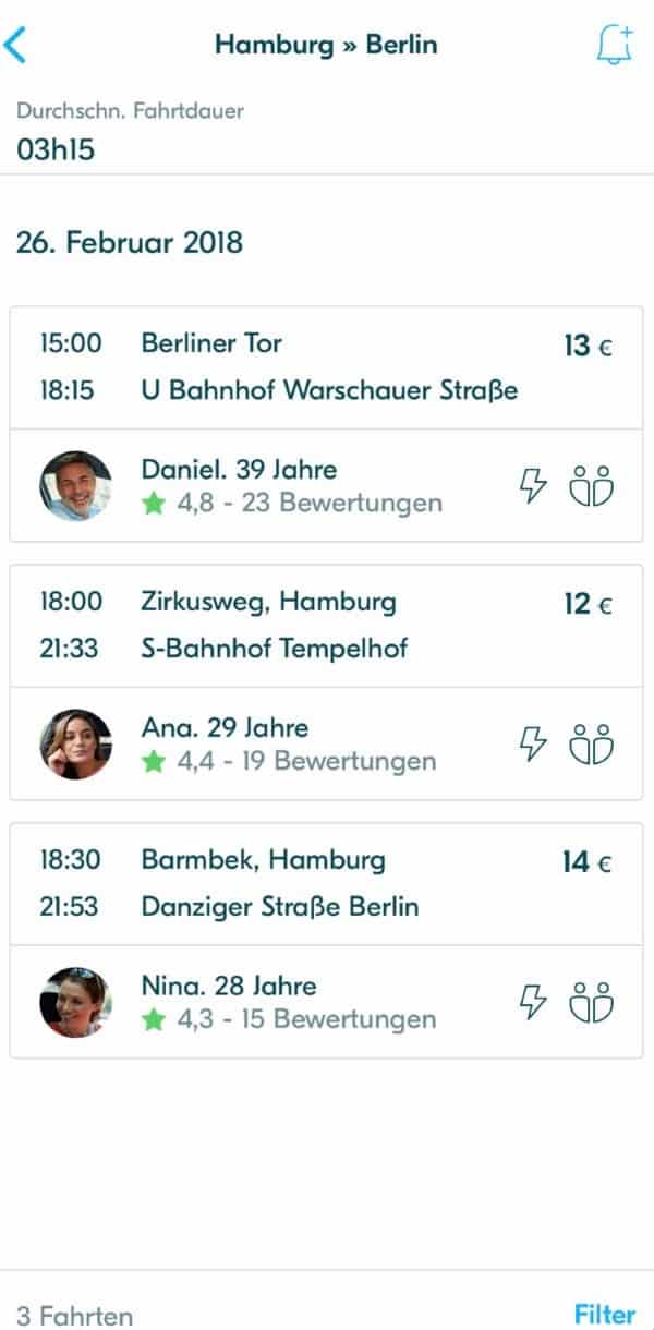 Screenshot der BlaBlaCar App