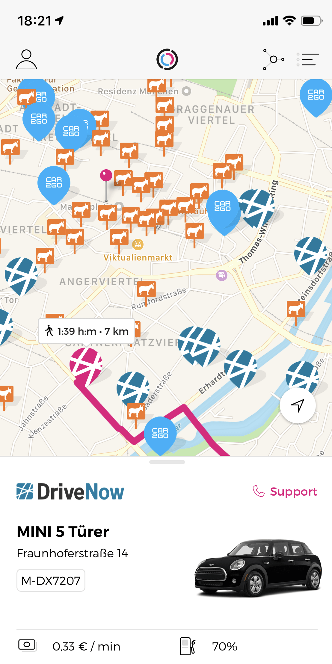 Screenshot der Free2Move App
