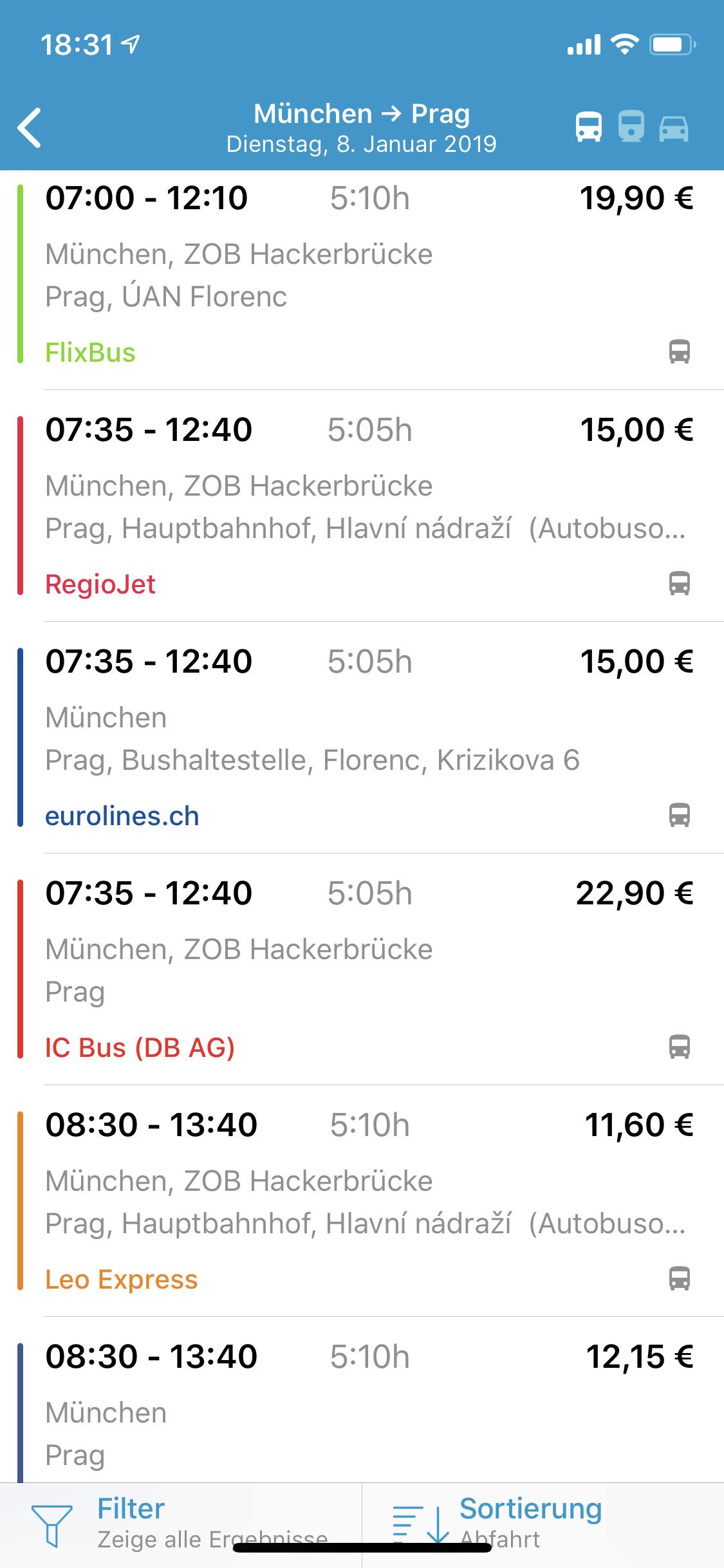Screenshot der Busliniensuche App