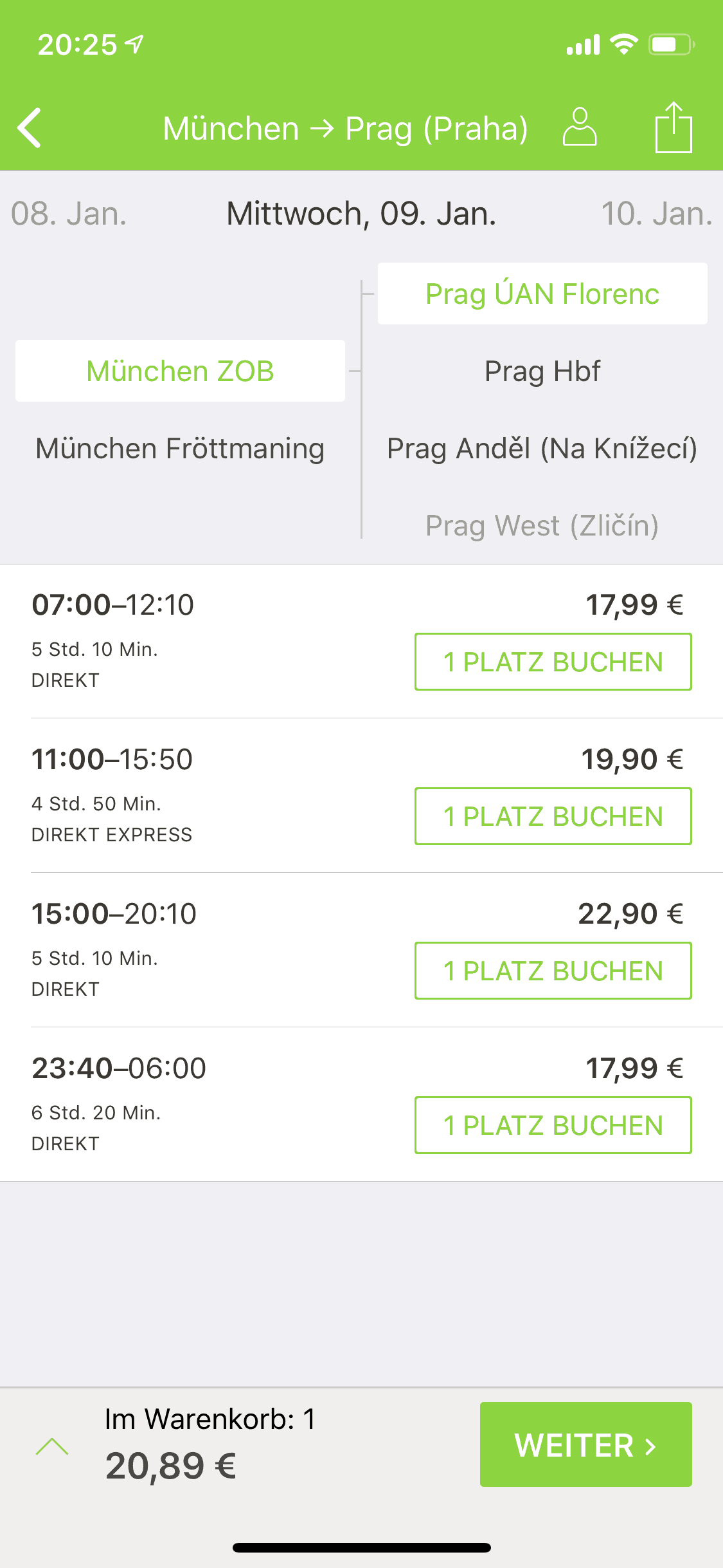 Screenshot der Flixbus App