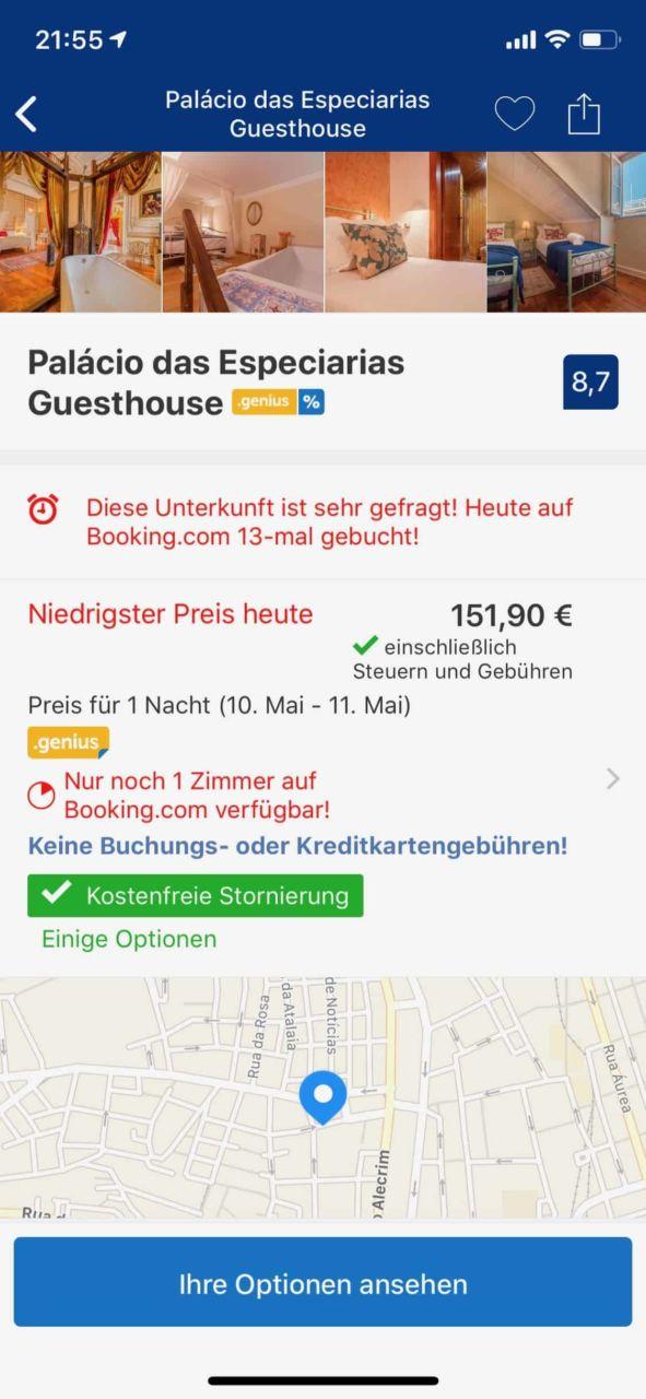 Screenshot der Booking.com App