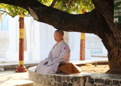 Meditierende Nonne sitzt unter Baum