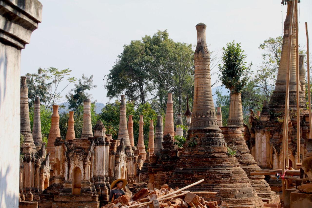 Viele Stupas vor einem Baum im Hintergrund