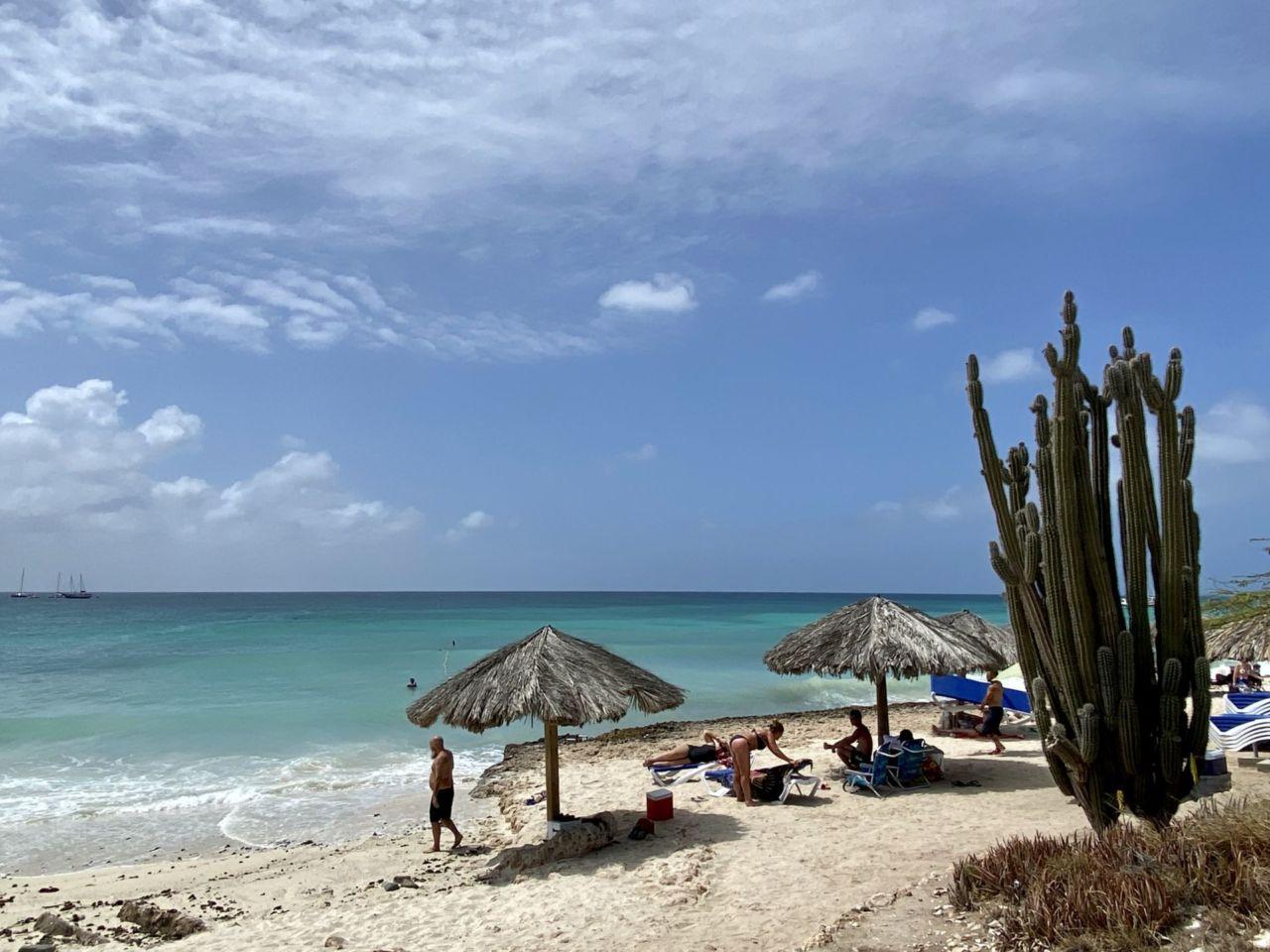 Blauer Himmel mit azurfarbenen Meer, Sand, Kaktus, Menschen und Sonnenschirmen aus Stroh