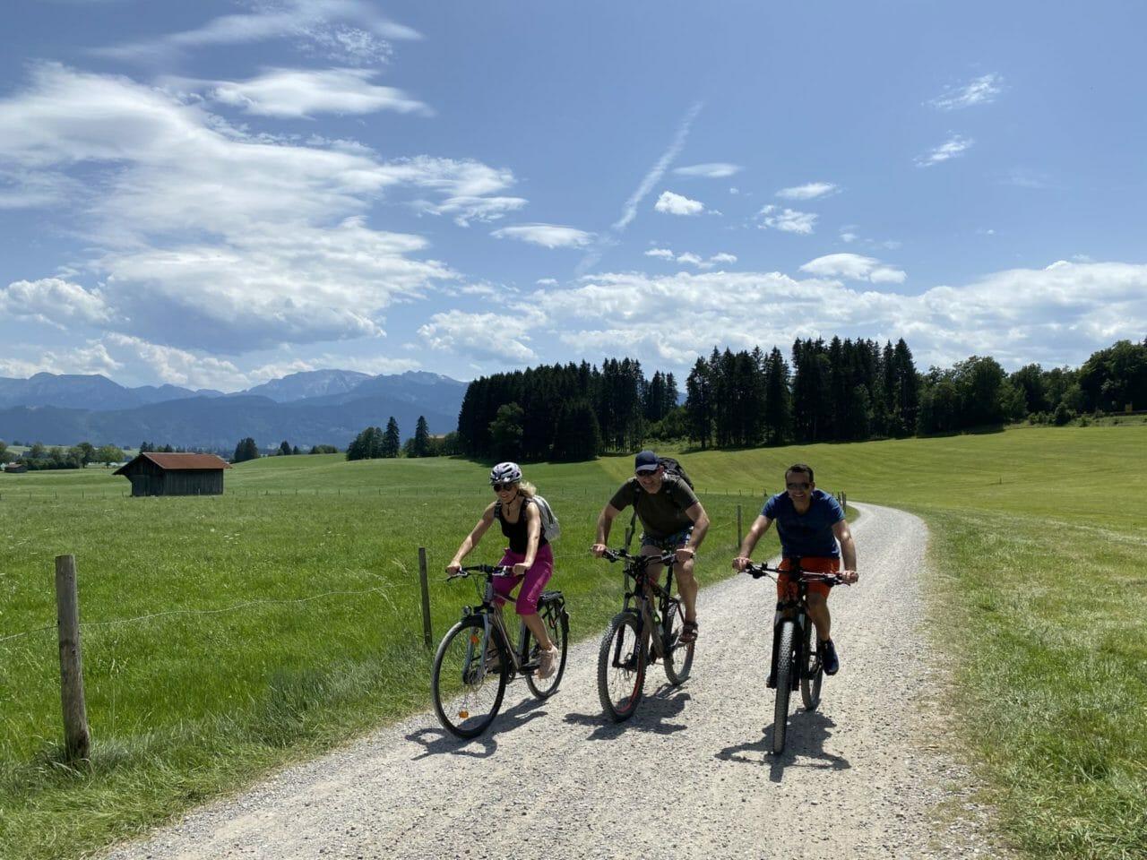 Drei Radfahrer vor einer grünen Wiese und Bäumen